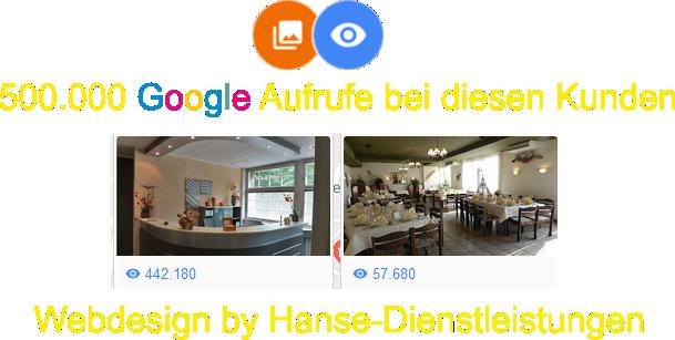 Google Aufrufe von Kundenbilder bei Webdesign Hanse